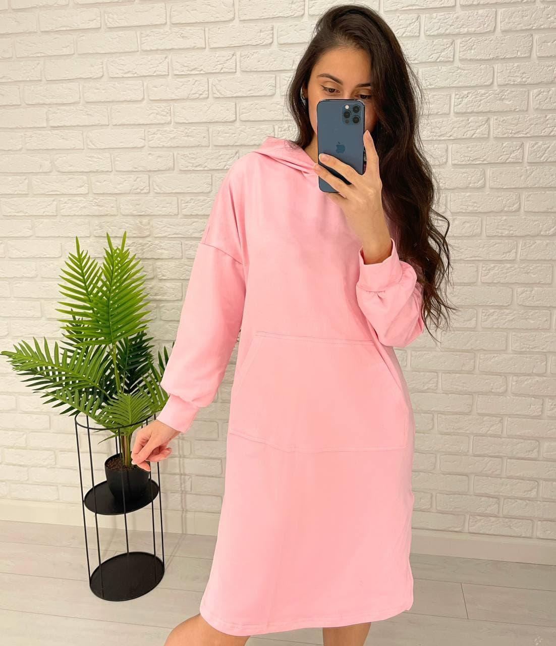 Теплое женское платье с капюшоном в длине миди Pink
