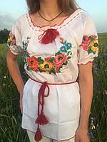 """Женская вышиванка с коротким рукавом, вышивка """" Мальва """""""