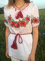 """Женская вышиванка с коротким рукавом, вышивка """" Маки """""""