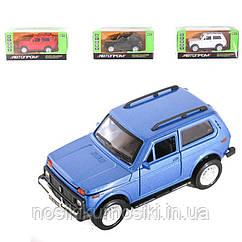 """Машинка 7812 Нива """"Автопром"""", 2 цвета, металлопластик, подсветка фар, звук, открываются двери, инерция"""