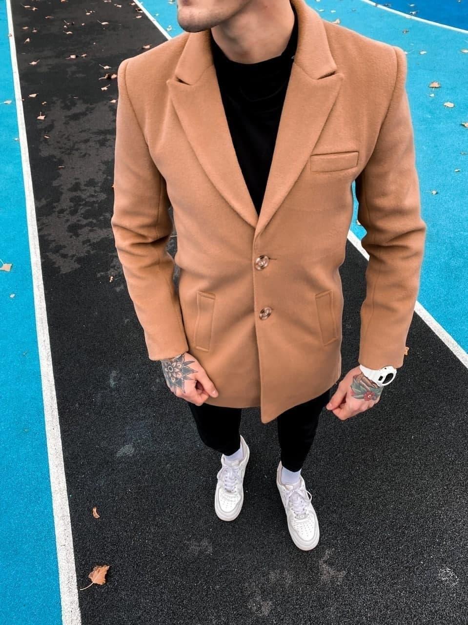 😜 Пальто Чоловіче пальто колір кемел на осінь\ чоловіче пальто кемел шерстяне