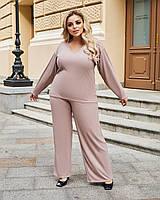 Жіночий стильний трикотажний прогулянковий костюм штани на широкій резинці, кофта з довгим рукавом, фото 1