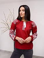 Красивая бордовая женская вышиванка из 100 % льна
