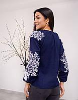 Красивая синяя женская вышиванка из 100 % льна
