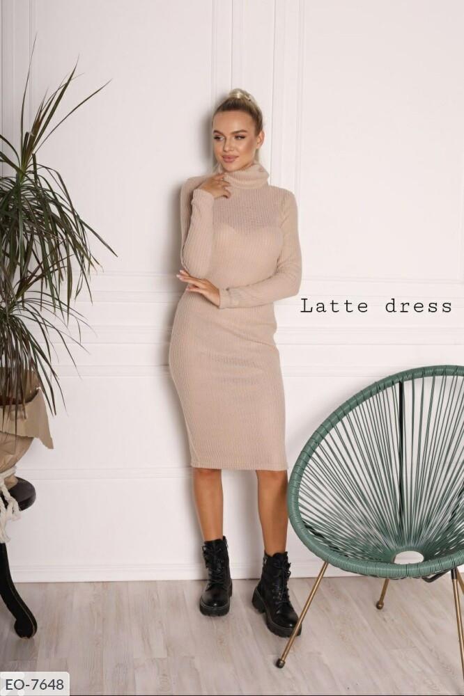 Ангоровое облегающее женское платье-гольф однотонное по колено с длинный рукавом осень-зима арт. 013
