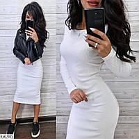Біле облягає повсякденне трикотажне плаття за коліно з довгим рукавом Розмір: 42-46 арт. EM-7025