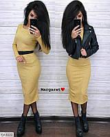 Повседневное мягкое ангоровое платье за колено горчица с ремешком длины миди Размер: 42-46, фото 1