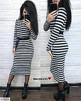 Повсякденне стильний облягаюче плаття в смужку з ангори за коліно з ремінцем довжини міді Розмір: 42-46