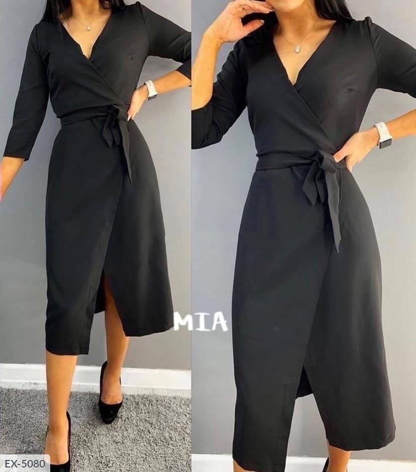 Стильное элегантное платье на запах приталенное за колено из костюмной ткани под пояс длины миди арт. 026