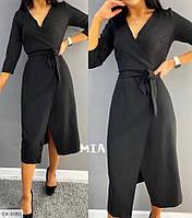 Стильное элегантное платье на запах приталенное за колено из костюмной ткани под пояс длины миди арт. 026, фото 1