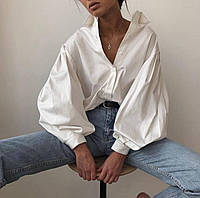 Женская стильная рубашка с широким рукавом фонариком с манжетами, фото 1