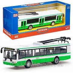 """Троллейбус 6407 """"Автопром"""", металлопластик, инерция, масштаб 1:72, зеленый"""
