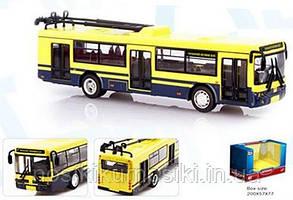 "Троллейбус 6407 ""Автопром"", металлопластик, инерция, масштаб 1:72, синий"