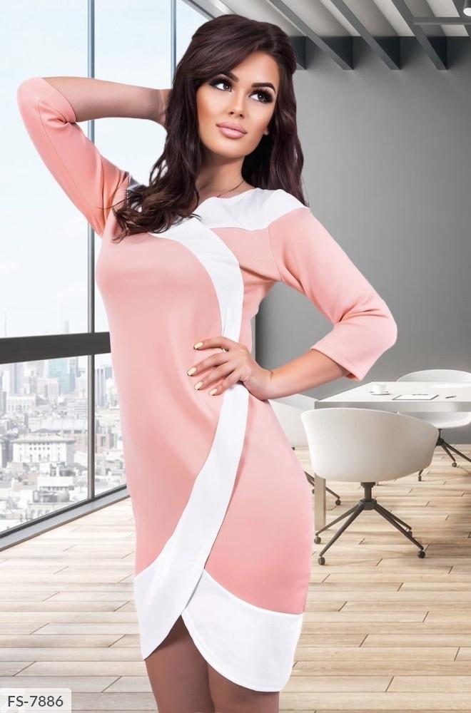 Класне приталене двоколірна сукня з дайвінгу з імітацією запаху Розмір: 42-44, 44-46 арт. 698