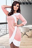 Классное приталенное двухцветное платье из дайвинга с имитацией запаха Размер: 42-44, 44-46 арт. 698