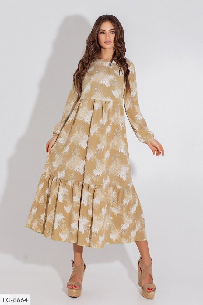 Оригінальне вільний принтована сукню за коліно з завищене талією з софта р: 42, 44, 46, 48 арт. 1194