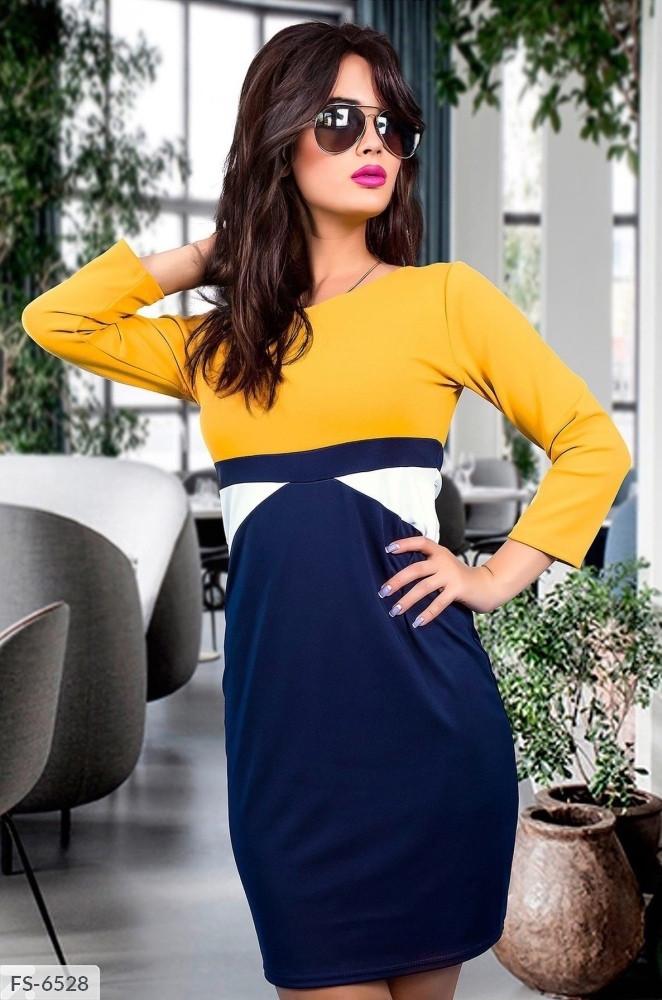 Крутое приталенное трехцветное платье из дайвинга с длинным рукавом Размер: 42-44, 44-46 арт. 812