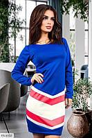 Крутое приталенное трехцветное платье из французского трикотажа с длинным рукавом р: 42-44, 44-46 арт. 810