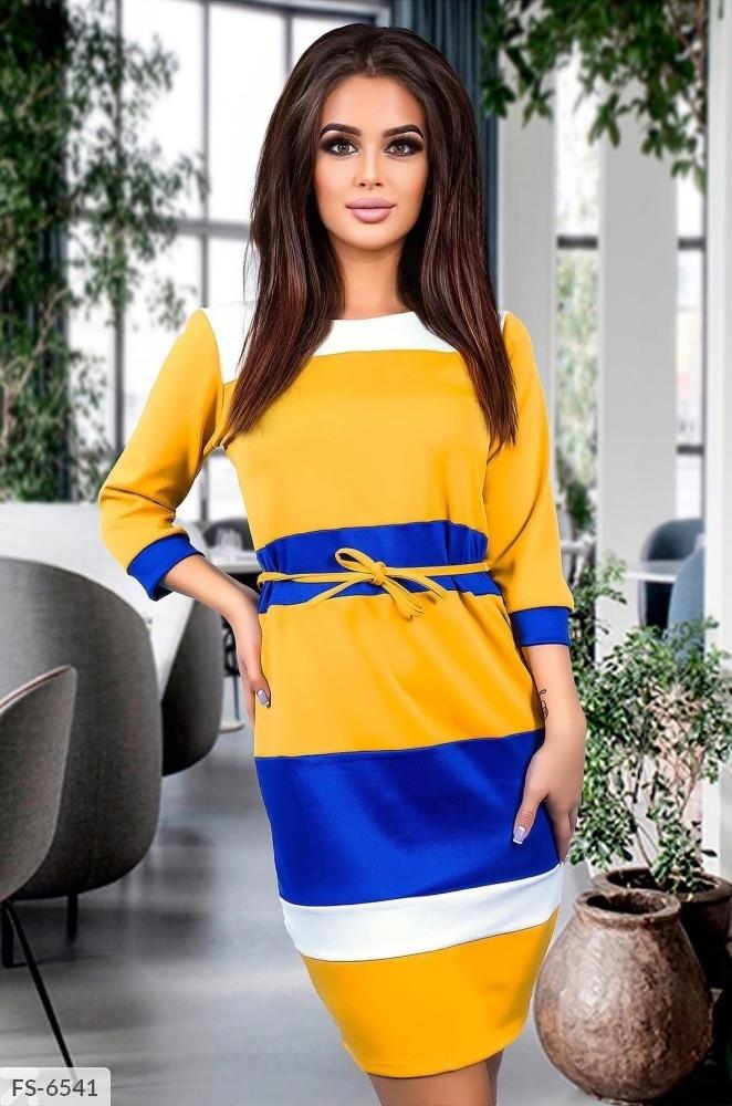 Модне триколірне приталені плаття з мікро дайвінгу з рукавом 3/4 Розмір: 42-44, 44-46 арт. 815
