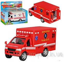 Машина инерционная Скорая помощь Rescue Team KS 5259 W, металлопластик, инерция, цвет белый