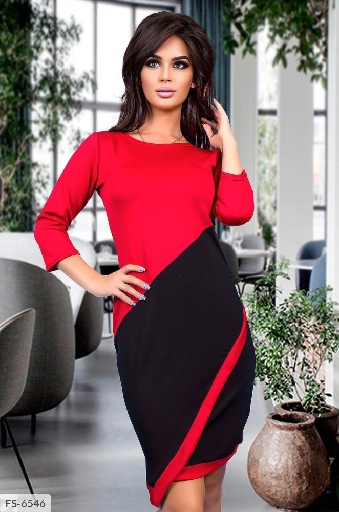 Витончене приталене вечірній двоколірна сукня з мікро дайвінгу Розмір: 42-44, 44-46 арт. 811
