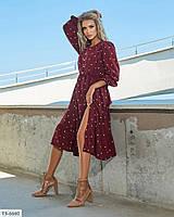 Женственное нежное расклешенное платье по колено из софта в горошек Размер: 42-44, 46-48 арт. р15380, фото 1