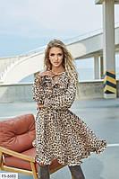 Шифонова сукня жіноча коротке з спідницею кльош з рюшами з леопардовим принтом Розмір: 42-44, 46-48 арт. с563