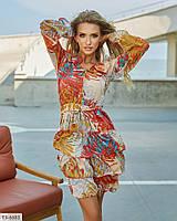 Оригінальне розкльошені легке креп шифонова сукня з воланами в яскравий принт Розмір: 42-44, 46-48 арт. с564, фото 1
