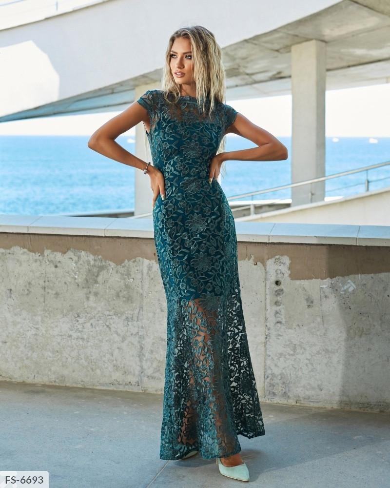 Нарядное вечернее приталенное платье рыбка кружевное в пол с итальянским кружевом на подкладке арт. д41217