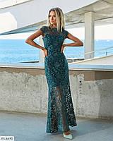 Нарядное вечернее приталенное платье рыбка кружевное в пол с итальянским кружевом на подкладке арт. д41217, фото 1