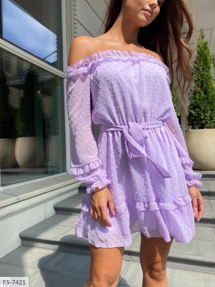 Романтичное нарядное короткое платье с расклешенной юбкой шифон на подкладке арт 7424