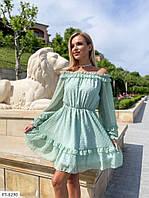 Красиве шифонова коротке плаття на підкладці з розкльошеною спідницею і довгим рукавом