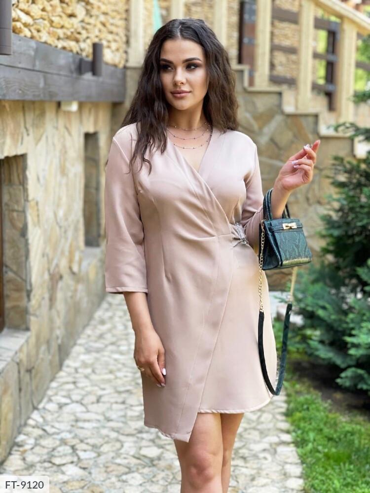 Деловое стильное однотонное платье-пиджак  женское короткое мини из креп костюмки арт.1014