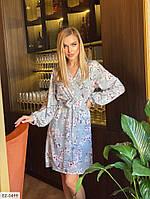 Миле романтичне плаття на запах з софта з квітковим принтом під пояс, Розмір: 42-46 арт. 027