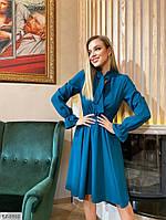 Стримане однотонне жіноче плаття з розкльошеною спідницею до коліна арт. 028