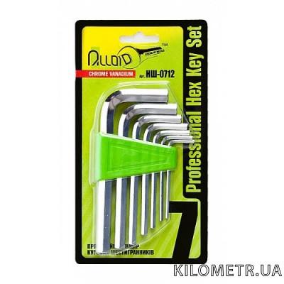 Набір шестигранних ключів Alloid 2.5-10 мм вигнутих 7 предметів (НШ-0712)