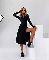 Женское трикотажное однотонное платье для девушки с разрезом по ноге размер норма 42-48, цвет уточняйте при за