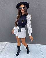 Платье молодежное для девушек укороченное двухцветное размер 42-48, цвет уточняйте при заказе