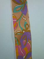 Лента атласная цветная с металлической нитью по краю, 40мм