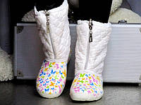 Жіночі білі зимові гумові Чоботи, фото 1