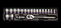 """Головки торцевые (комплект) 1/2"""", 20 пр., 10-32 мм, в ложементе 6 гр. KINGTONY 9-4319MR"""