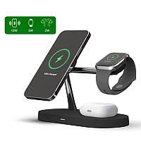 Беспроводная зарядка док-станция Qi Wireless Charger Tongdaytech 3в1 для iPhone Apple Watch AirPods 15W