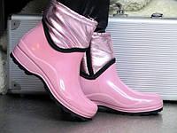 Жіночі гумові чоботи короткі з утеплювачем рожева пудра, фото 1