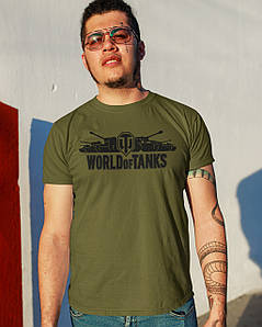 """Футболка чоловіча хакі з принтом """"World of Tanks"""""""
