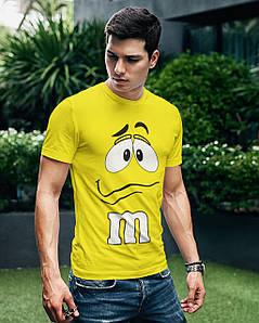 """Футболка чоловіча жовта з принтом """"M&M's"""""""