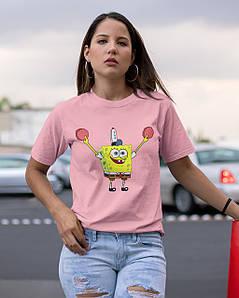 """Футболка жіноча рожева з принтом """"Спанч Боб"""""""