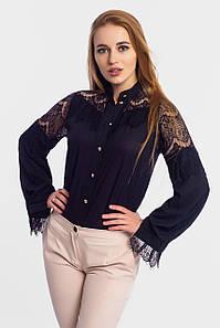 Нарядная блузка с кружевом Glory, черный