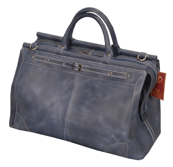 Кожаный саквояж SB 1995 702062 темно-синяя, дорожный кожаный 28 л