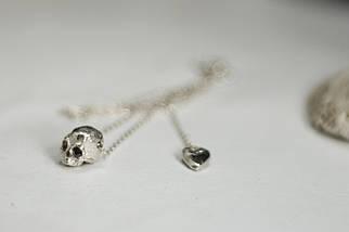 Тонка срібна підвіска з черепом, 925 проба