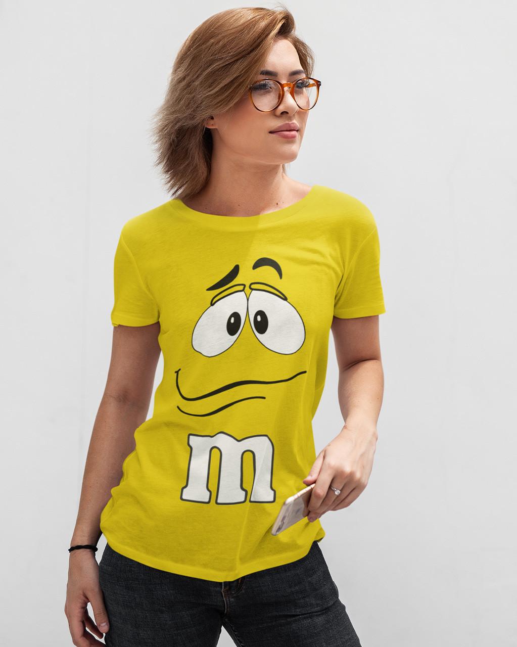 """Футболка женская жёлтая с принтом """"M&M's"""""""
